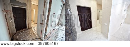 Comparative Image Of A Hall In Apartment Before And After Restoration. Entrance Door, Interior Doors