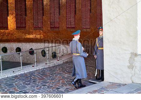 Volgograd, Russia - October 18, 2019: Hall Of Military Glory In Memorial Complex Mamayev Kurgan. Scu