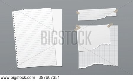 Torn Of White Lined And Blank Note, Notebook Paper Are On Dark Gray Background For Text, Advertising