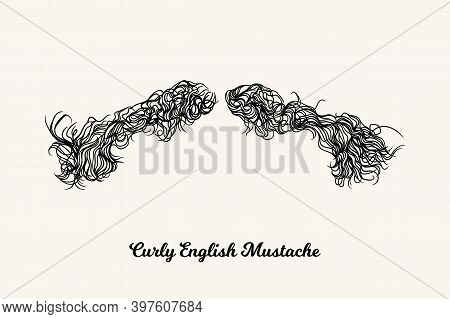 Curly English Mustache. Simple Linear Illustration With Fashionable Men Hairstyle. Contour Vector Ba