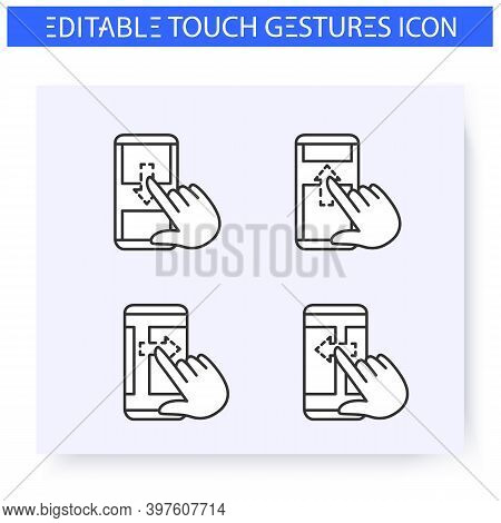 Scroll Hand Gestures Line Icons Set.vertical And Horisontal Swipe. Multitouch Gestures For Smartphon