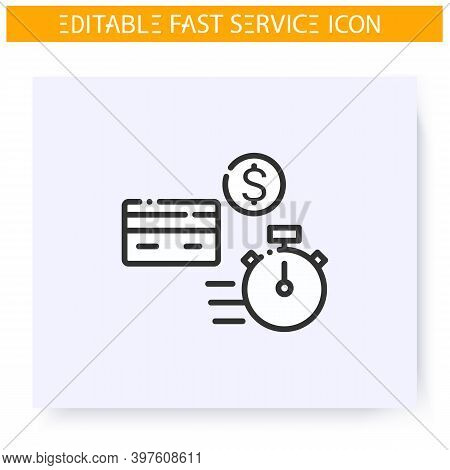 Fast Payment Line Icon. Payment Card. Express Banking. Quick Services, Short Term, Rapid Work, Time