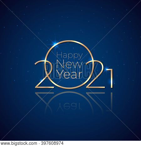 New Year 2021. Holiday Greeting Card. Shiny Golden 2021 On Dark Blue Background. New Year Design For