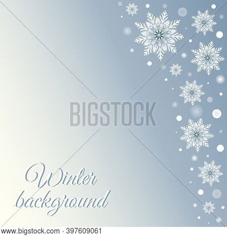 Winter Card With Snowflakes. Vector Holiday Illustration