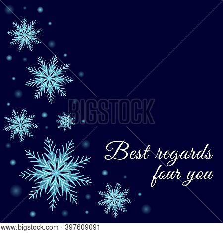 Vector Winter Background With Glowing Dots And Snowflakes. Celebrations Greeting Card