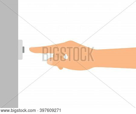 Flat Design Illustration Of Male Or Female Hand. The Index Finger Presses The Doorbell Button On The