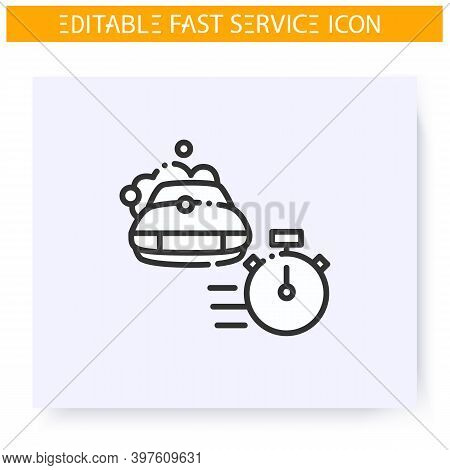 Fast Car Washing Line Icon. Express Car Wash. Vehicle Cleaning Express Service. Quick Services, Shor