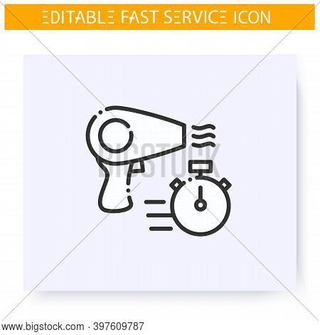 Fast Beauty Service Line Icon. Express Hairstyling. Beauty Salon Express Procedures. Quick Services,