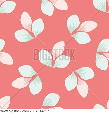 Beautiful Hand Drawn Trio Of Spring Blossoms Seamless Vector Pattern Background. Pink And Mint Green