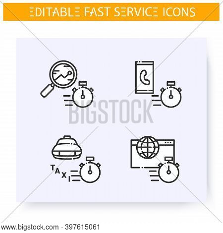Fast Service Line Icons Set. Quick Internet, Call, Research, Transport. Express Solutions, Short Ter