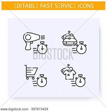 Fast Service Line Icons Set. Quick Beauty Service, Shopping, Laundry And Car Maintenance. Express So
