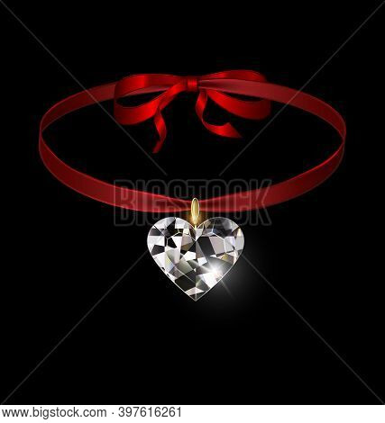 Black Background And Jewel Pendant Heart With Red Tape