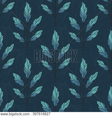 Vector Seamless Pattern With Foliate Twigs With Blue Leaves On Dark Blue Background; For Greeting Ca