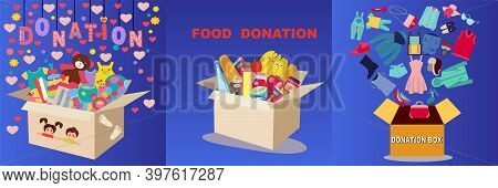 Collection Of Boxes Full Of Charity Donation Box With Food, Clothing And Toys. Set Of Boxes With Dif