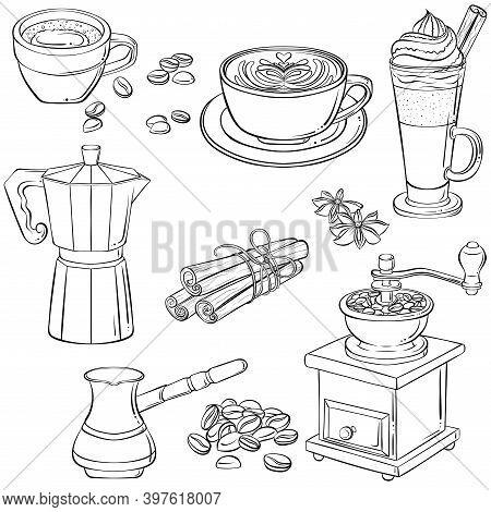 Set With Various Coffee Drinks And Coffee Makers. Hand Drawn Vector Illustration With Black Outline