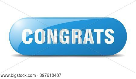 Congrats Button. Sticker. Banner. Rounded Glass Sign