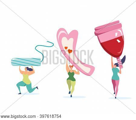 Three Strong Athletic Girls Holding Big Menstrual Cup,tampon And Sanitary Pad.comfort,protection And