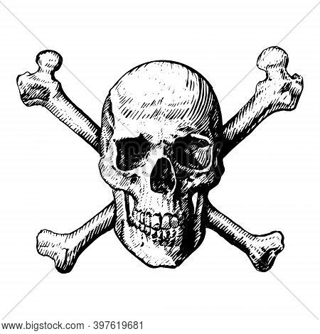 A Skull And Crossbones Icon Illustration Like A Pirates Jolly Roger Sign. Vector Icon, Isolated, On