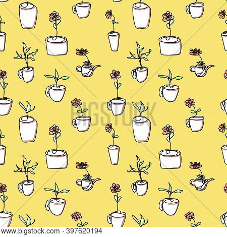 Seamless Background Of Various Flower Pots Drawn With A Single Line. Flowers And Herbs In Pots. Whit