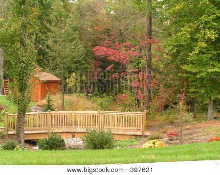 Wooden Footbridge  In Backyard