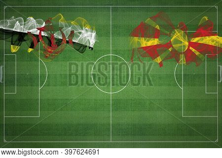 Brunei Vs North Macedonia Soccer Match, National Colors, National Flags, Soccer Field, Football Game
