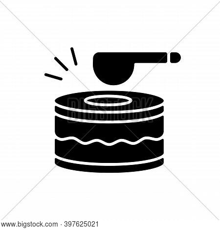 Drums Black Glyph Icon. Ramadan Music Instrument. Waking Up All People Before Dusk To Eat Food. Spec