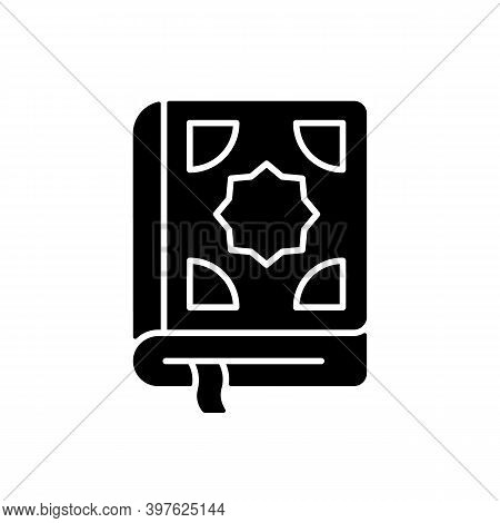 Quran Black Glyph Icon. Central Religious Text Of Islam. Religious Traditional Literature. Guidance