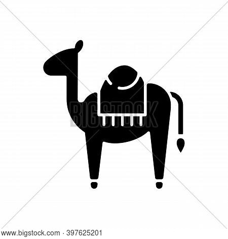Camel Black Glyph Icon. Big Animal With Two Water Bags Used For Long Walks Throught Desert. Sand Shi