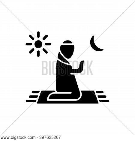 Prayer Black Glyph Icon. Talking To God. Quite Communication Time. Religious Ritual Time. Spiritual