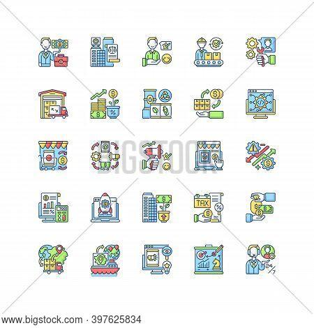 Entrepreneurship Rgb Color Icons Set. Profitable Business, Commercial Enterprise. Commercial Company