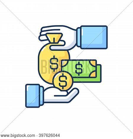 Payroll Rgb Color Icon. Finances Management, Money Exchange, Cash Flow. Banking Services, Deposit In