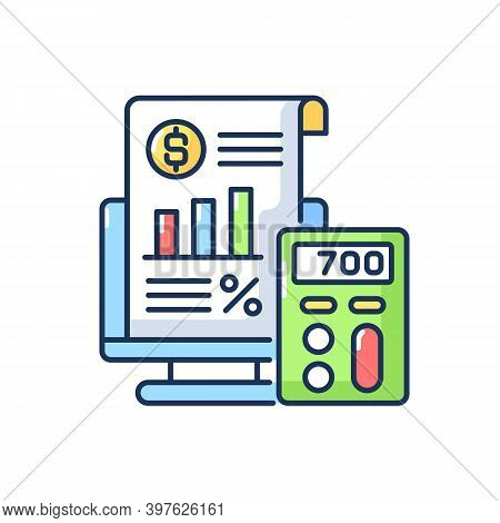Bookkeeping And Audit Rgb Color Icon. Economic Management, Budget Assessment. Professional Accountan
