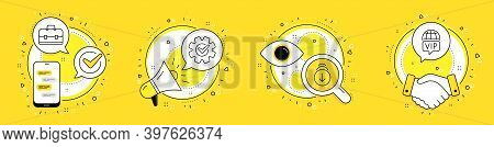 Cogwheel, Portfolio And Scroll Down Line Icons Set. Cell Phone, Megaphone And Deal Vector Icons. Vip