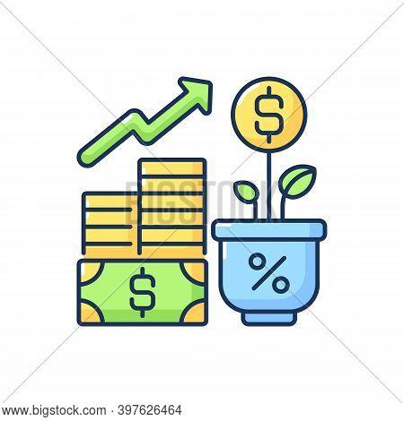 Income Increase Rgb Color Icon. Profitable Business. Growing Entrepreneurship Revenue. Financial Dev