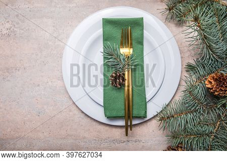 Christmas, Holidays And Eating Concept - Table Served For Festive Dinner At Home. Living Room Decora