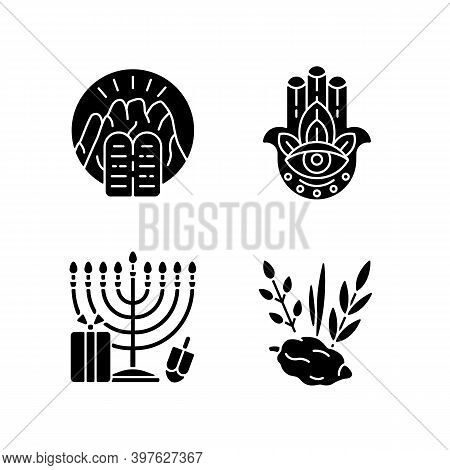 Judaism Beliefs Black Glyph Icons Set On White Space. Stone Tablets. Hamsa Hand. Nine-branched Menor