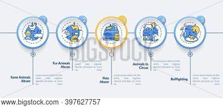 Animal Abuse Vector Infographic Template. Wildlife Harm. Animal Welfare Presentation Design Elements