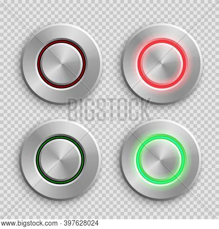 Chrome Circle Button Set. Metal Silver Round 3d Icons Vector Illustration. Shiny Circular Realistic