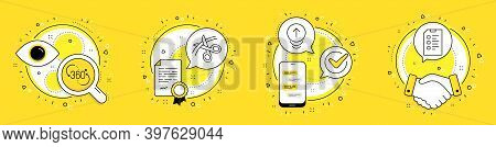 360 Degree, Scissors And Swipe Up Line Icons Set. Licence, Cell Phone And Deal Vector Icons. Checkli