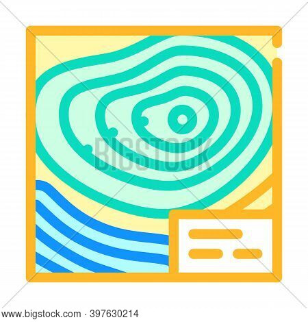 Topographic Map Color Icon Vector Illustration Flat