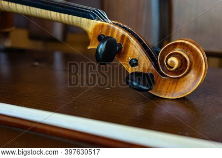Part Of The Violin. Side View.  Violin Handle.