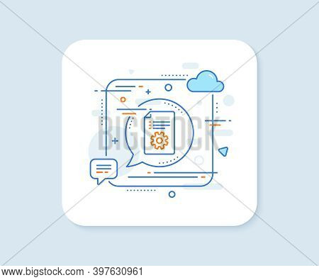 Technical Documentation Line Icon. Abstract Square Vector Button. Instruction Sign. Technical Docume