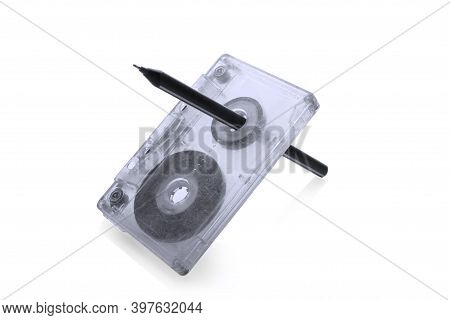 Rewind Tape On Cassette Isolated On White Background.