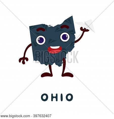 Cute Cartoon Ohio State Character Clipart. Illustrated Map Of State Of Ohio Of Usa With State Name.