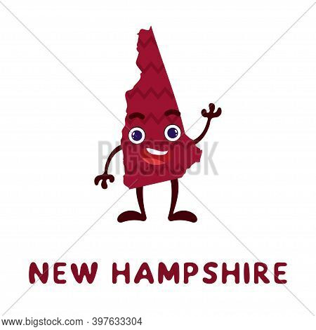 Cute Cartoon New Hampshire State Character Clipart. Illustrated Map Of State Of New Hampshire Of Usa