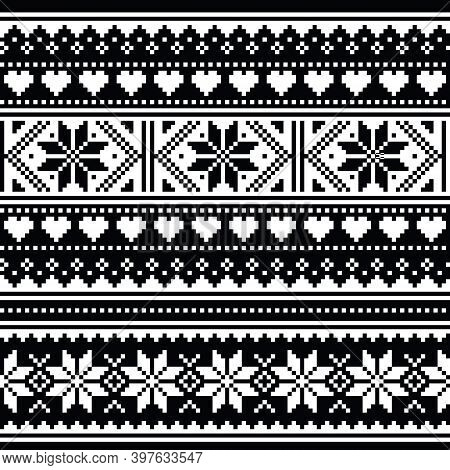 Scottish Fair Isle Style Traditional Knitwear Vector Seamless Pattern, Retro Shetlands Knit Repetiti