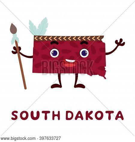 Cute Cartoon South Dakota State Character Clipart. Illustrated Map Of State Of South Dakota Of Usa W