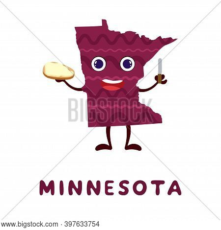 Cute Cartoon Minnesota State Character Clipart. Illustrated Map Of State Of Minnesota Of Usa With St