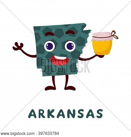 Cute Cartoon Arkansas State Character Clipart. Illustrated Map Of State Of Arkansas Of Usa With Stat