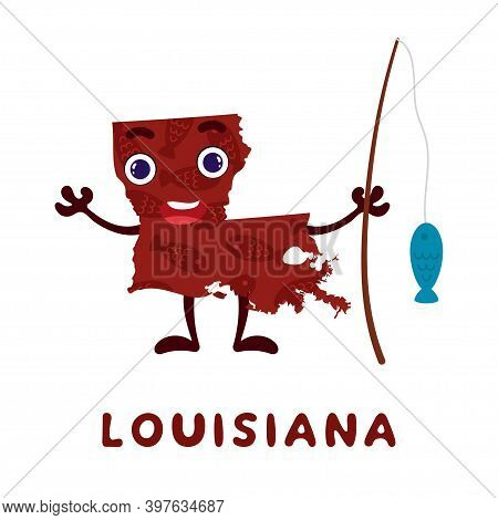 Cute Cartoon Louisiana State Character Clipart. Illustrated Map Of State Of Louisiana Of Usa With St